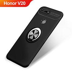 Silikon Hülle Handyhülle Ultra Dünn Schutzhülle Tasche Silikon mit Magnetisch Fingerring Ständer A01 für Huawei Honor V20 Schwarz