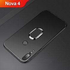Silikon Hülle Handyhülle Ultra Dünn Schutzhülle Tasche Silikon mit Magnetisch Fingerring Ständer A01 für Huawei Nova 4 Schwarz
