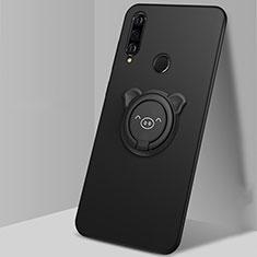 Silikon Hülle Handyhülle Ultra Dünn Schutzhülle Tasche Silikon mit Magnetisch Fingerring Ständer A01 für Huawei Nova 4e Schwarz