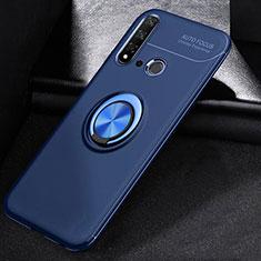Silikon Hülle Handyhülle Ultra Dünn Schutzhülle Tasche Silikon mit Magnetisch Fingerring Ständer A01 für Huawei Nova 5i Blau