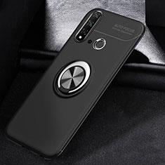 Silikon Hülle Handyhülle Ultra Dünn Schutzhülle Tasche Silikon mit Magnetisch Fingerring Ständer A01 für Huawei Nova 5i Schwarz