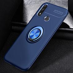 Silikon Hülle Handyhülle Ultra Dünn Schutzhülle Tasche Silikon mit Magnetisch Fingerring Ständer A01 für Huawei P Smart (2019) Blau