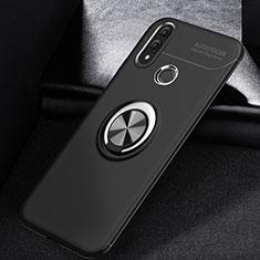 Silikon Hülle Handyhülle Ultra Dünn Schutzhülle Tasche Silikon mit Magnetisch Fingerring Ständer A01 für Huawei P Smart (2019) Schwarz