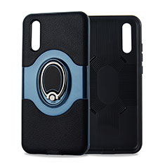 Silikon Hülle Handyhülle Ultra Dünn Schutzhülle Tasche Silikon mit Magnetisch Fingerring Ständer A01 für Huawei P20 Cyan