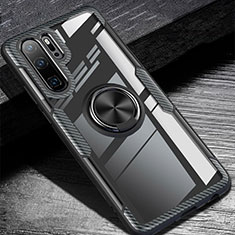 Silikon Hülle Handyhülle Ultra Dünn Schutzhülle Tasche Silikon mit Magnetisch Fingerring Ständer A01 für Huawei P30 Pro Schwarz
