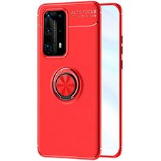 Silikon Hülle Handyhülle Ultra Dünn Schutzhülle Tasche Silikon mit Magnetisch Fingerring Ständer A01 für Huawei P40 Pro+ Plus Rot