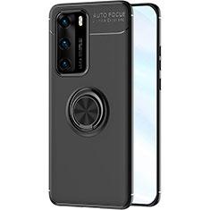 Silikon Hülle Handyhülle Ultra Dünn Schutzhülle Tasche Silikon mit Magnetisch Fingerring Ständer A01 für Huawei P40 Schwarz