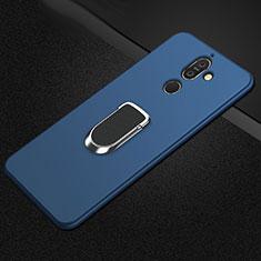 Silikon Hülle Handyhülle Ultra Dünn Schutzhülle Tasche Silikon mit Magnetisch Fingerring Ständer A01 für Nokia 7 Plus Blau