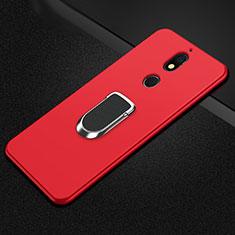 Silikon Hülle Handyhülle Ultra Dünn Schutzhülle Tasche Silikon mit Magnetisch Fingerring Ständer A01 für Nokia 7 Plus Rot