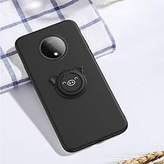 Silikon Hülle Handyhülle Ultra Dünn Schutzhülle Tasche Silikon mit Magnetisch Fingerring Ständer A01 für OnePlus 7T Schwarz