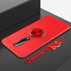 Silikon Hülle Handyhülle Ultra Dünn Schutzhülle Tasche Silikon mit Magnetisch Fingerring Ständer A01 für OnePlus 8 Rot