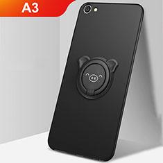 Silikon Hülle Handyhülle Ultra Dünn Schutzhülle Tasche Silikon mit Magnetisch Fingerring Ständer A01 für Oppo A3 Schwarz