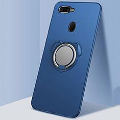 Silikon Hülle Handyhülle Ultra Dünn Schutzhülle Tasche Silikon mit Magnetisch Fingerring Ständer A01 für Oppo A7 Blau