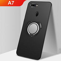 Silikon Hülle Handyhülle Ultra Dünn Schutzhülle Tasche Silikon mit Magnetisch Fingerring Ständer A01 für Oppo A7 Schwarz