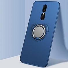 Silikon Hülle Handyhülle Ultra Dünn Schutzhülle Tasche Silikon mit Magnetisch Fingerring Ständer A01 für Oppo A9 Blau