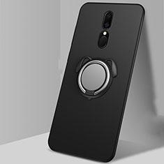 Silikon Hülle Handyhülle Ultra Dünn Schutzhülle Tasche Silikon mit Magnetisch Fingerring Ständer A01 für Oppo A9 Schwarz