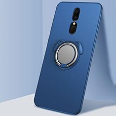 Silikon Hülle Handyhülle Ultra Dünn Schutzhülle Tasche Silikon mit Magnetisch Fingerring Ständer A01 für Oppo A9X Blau