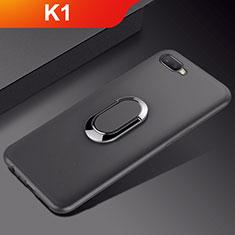 Silikon Hülle Handyhülle Ultra Dünn Schutzhülle Tasche Silikon mit Magnetisch Fingerring Ständer A01 für Oppo K1 Schwarz