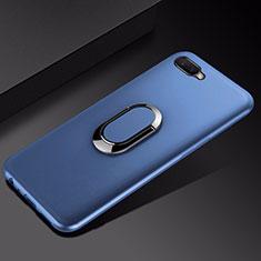 Silikon Hülle Handyhülle Ultra Dünn Schutzhülle Tasche Silikon mit Magnetisch Fingerring Ständer A01 für Oppo R17 Neo Blau
