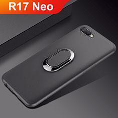 Silikon Hülle Handyhülle Ultra Dünn Schutzhülle Tasche Silikon mit Magnetisch Fingerring Ständer A01 für Oppo R17 Neo Schwarz