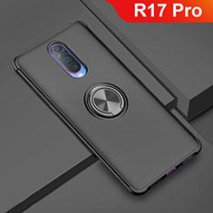 Silikon Hülle Handyhülle Ultra Dünn Schutzhülle Tasche Silikon mit Magnetisch Fingerring Ständer A01 für Oppo R17 Pro Schwarz
