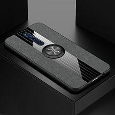 Silikon Hülle Handyhülle Ultra Dünn Schutzhülle Tasche Silikon mit Magnetisch Fingerring Ständer A01 für Oppo Reno2 Z Schwarz