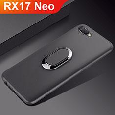 Silikon Hülle Handyhülle Ultra Dünn Schutzhülle Tasche Silikon mit Magnetisch Fingerring Ständer A01 für Oppo RX17 Neo Schwarz