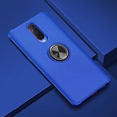 Silikon Hülle Handyhülle Ultra Dünn Schutzhülle Tasche Silikon mit Magnetisch Fingerring Ständer A01 für Oppo RX17 Pro Blau