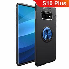 Silikon Hülle Handyhülle Ultra Dünn Schutzhülle Tasche Silikon mit Magnetisch Fingerring Ständer A01 für Samsung Galaxy S10 Plus Blau und Schwarz