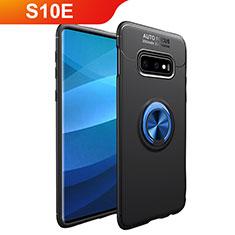 Silikon Hülle Handyhülle Ultra Dünn Schutzhülle Tasche Silikon mit Magnetisch Fingerring Ständer A01 für Samsung Galaxy S10e Blau und Schwarz