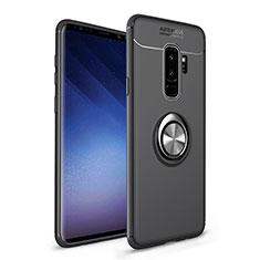 Silikon Hülle Handyhülle Ultra Dünn Schutzhülle Tasche Silikon mit Magnetisch Fingerring Ständer A01 für Samsung Galaxy S9 Plus Schwarz