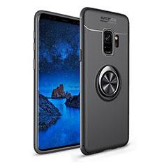 Silikon Hülle Handyhülle Ultra Dünn Schutzhülle Tasche Silikon mit Magnetisch Fingerring Ständer A01 für Samsung Galaxy S9 Schwarz