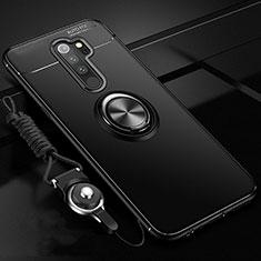 Silikon Hülle Handyhülle Ultra Dünn Schutzhülle Tasche Silikon mit Magnetisch Fingerring Ständer A01 für Xiaomi Redmi Note 8 Pro Schwarz