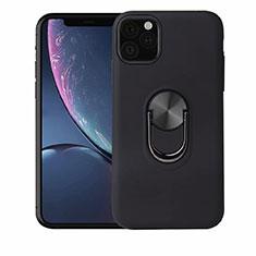 Silikon Hülle Handyhülle Ultra Dünn Schutzhülle Tasche Silikon mit Magnetisch Fingerring Ständer A02 für Apple iPhone 11 Pro Max Schwarz