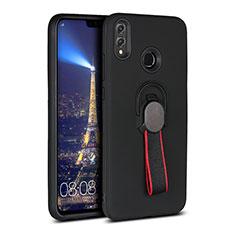 Silikon Hülle Handyhülle Ultra Dünn Schutzhülle Tasche Silikon mit Magnetisch Fingerring Ständer A02 für Huawei Honor 8X Schwarz