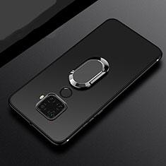 Silikon Hülle Handyhülle Ultra Dünn Schutzhülle Tasche Silikon mit Magnetisch Fingerring Ständer A02 für Huawei Mate 30 Lite Schwarz