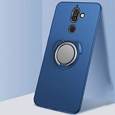 Silikon Hülle Handyhülle Ultra Dünn Schutzhülle Tasche Silikon mit Magnetisch Fingerring Ständer A02 für Nokia 7 Plus Blau