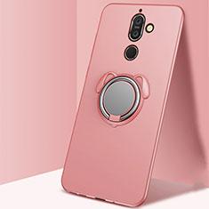 Silikon Hülle Handyhülle Ultra Dünn Schutzhülle Tasche Silikon mit Magnetisch Fingerring Ständer A02 für Nokia 7 Plus Rosegold