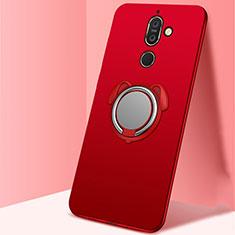 Silikon Hülle Handyhülle Ultra Dünn Schutzhülle Tasche Silikon mit Magnetisch Fingerring Ständer A02 für Nokia 7 Plus Rot