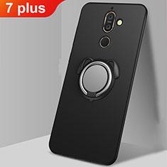 Silikon Hülle Handyhülle Ultra Dünn Schutzhülle Tasche Silikon mit Magnetisch Fingerring Ständer A02 für Nokia 7 Plus Schwarz