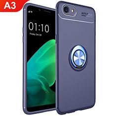 Silikon Hülle Handyhülle Ultra Dünn Schutzhülle Tasche Silikon mit Magnetisch Fingerring Ständer A02 für Oppo A3 Blau