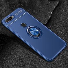 Silikon Hülle Handyhülle Ultra Dünn Schutzhülle Tasche Silikon mit Magnetisch Fingerring Ständer A02 für Oppo A7 Blau