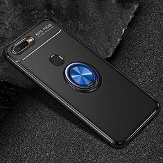 Silikon Hülle Handyhülle Ultra Dünn Schutzhülle Tasche Silikon mit Magnetisch Fingerring Ständer A02 für Oppo A7 Blau und Schwarz