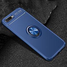 Silikon Hülle Handyhülle Ultra Dünn Schutzhülle Tasche Silikon mit Magnetisch Fingerring Ständer A02 für Oppo K1 Blau