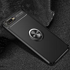 Silikon Hülle Handyhülle Ultra Dünn Schutzhülle Tasche Silikon mit Magnetisch Fingerring Ständer A02 für Oppo K1 Schwarz