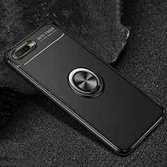 Silikon Hülle Handyhülle Ultra Dünn Schutzhülle Tasche Silikon mit Magnetisch Fingerring Ständer A02 für Oppo R15X Schwarz