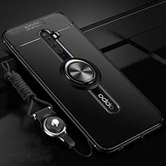 Silikon Hülle Handyhülle Ultra Dünn Schutzhülle Tasche Silikon mit Magnetisch Fingerring Ständer A02 für Oppo Reno2 Z Schwarz