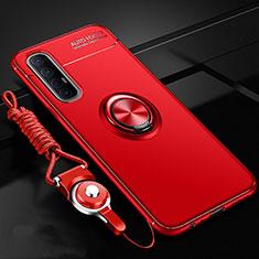 Silikon Hülle Handyhülle Ultra Dünn Schutzhülle Tasche Silikon mit Magnetisch Fingerring Ständer A02 für Oppo Reno3 Pro Rot