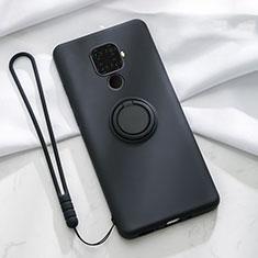 Silikon Hülle Handyhülle Ultra Dünn Schutzhülle Tasche Silikon mit Magnetisch Fingerring Ständer A03 für Huawei Mate 30 Lite Schwarz