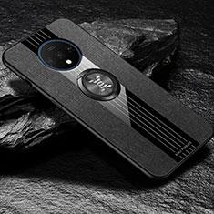 Silikon Hülle Handyhülle Ultra Dünn Schutzhülle Tasche Silikon mit Magnetisch Fingerring Ständer A03 für OnePlus 7T Schwarz